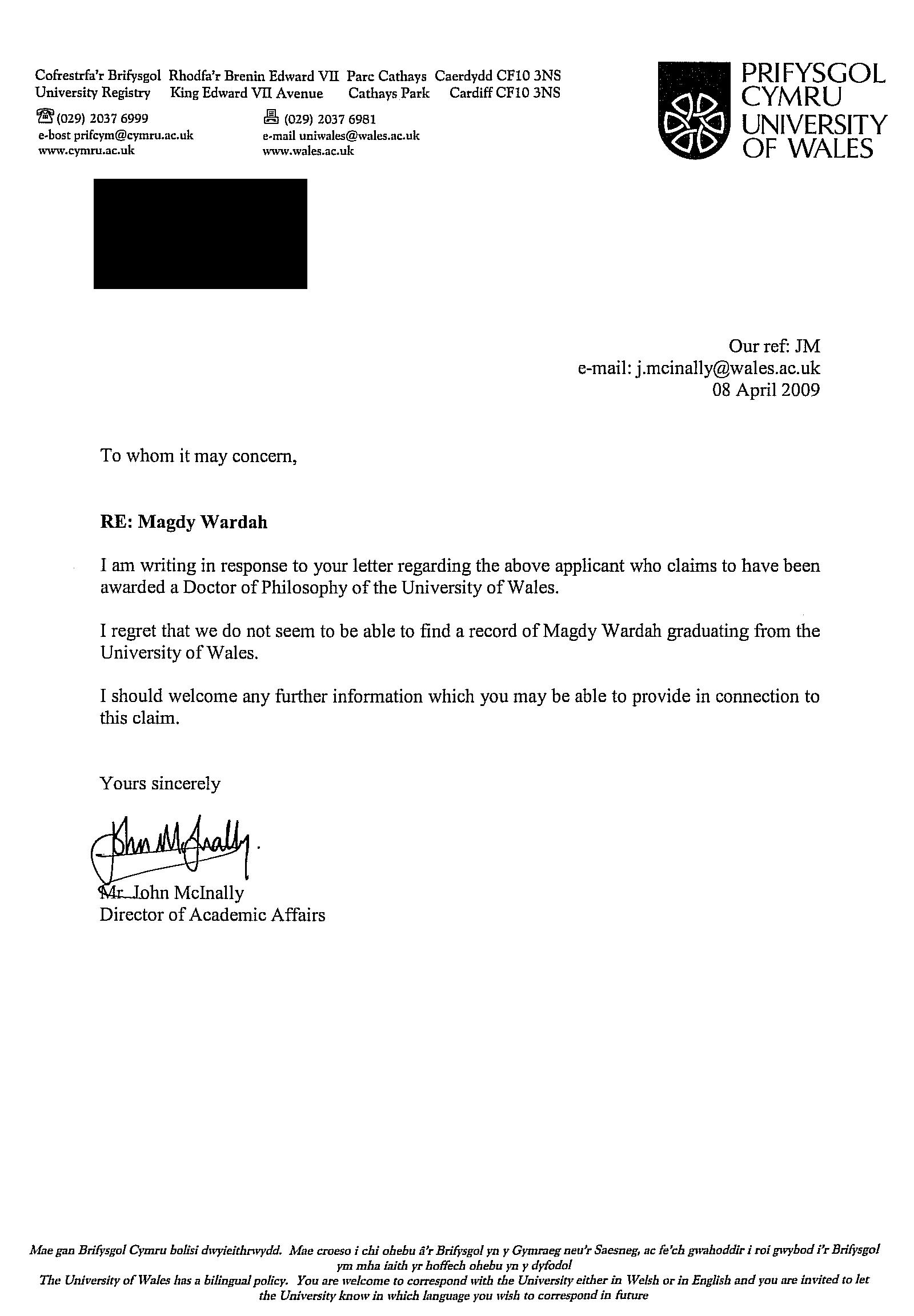 Letter from the University of Wales Confirming Majdy Wardah Never Received a Doctorate (Ph.D)